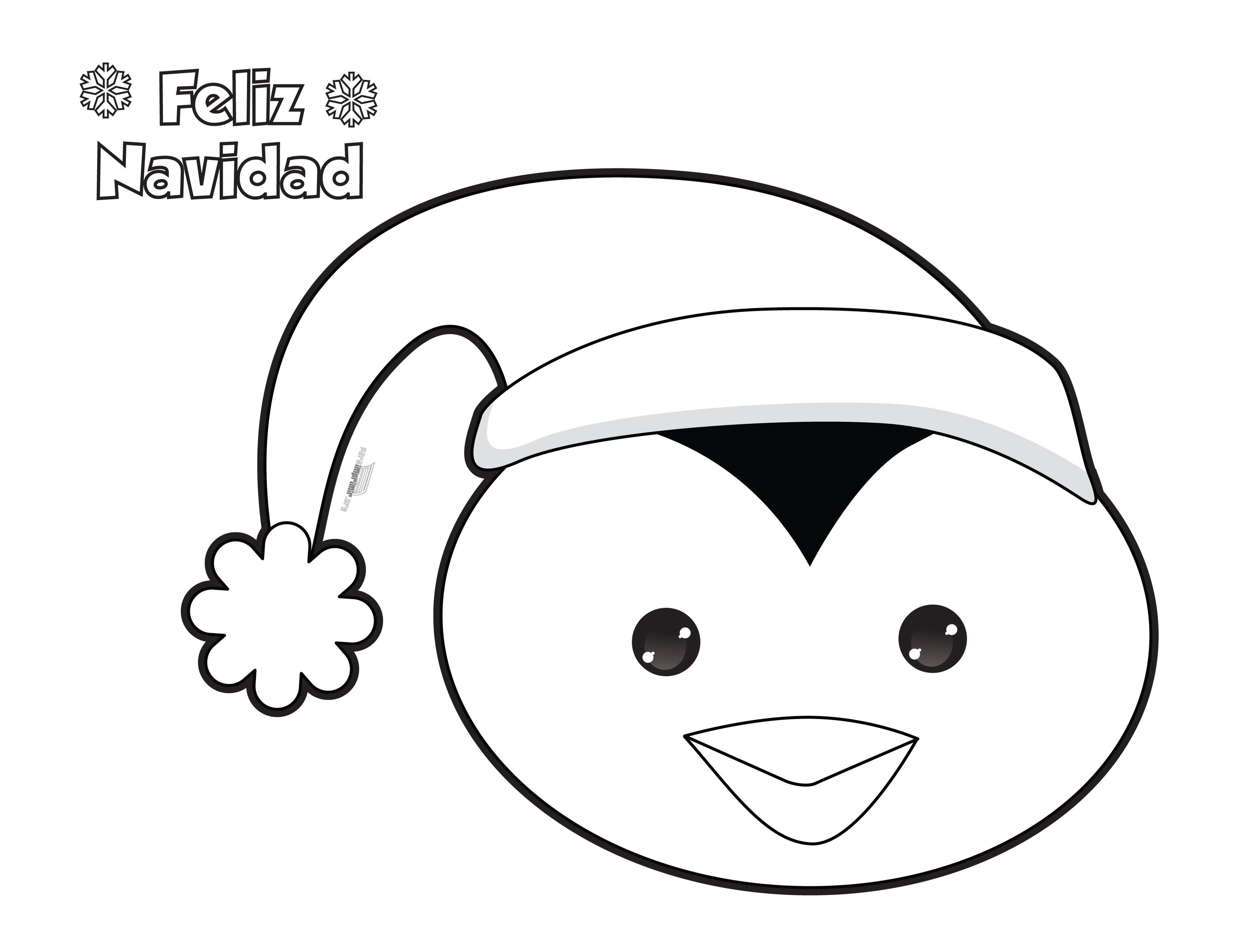 Dibujo de navidad de pinguino para colorear y para imprimir