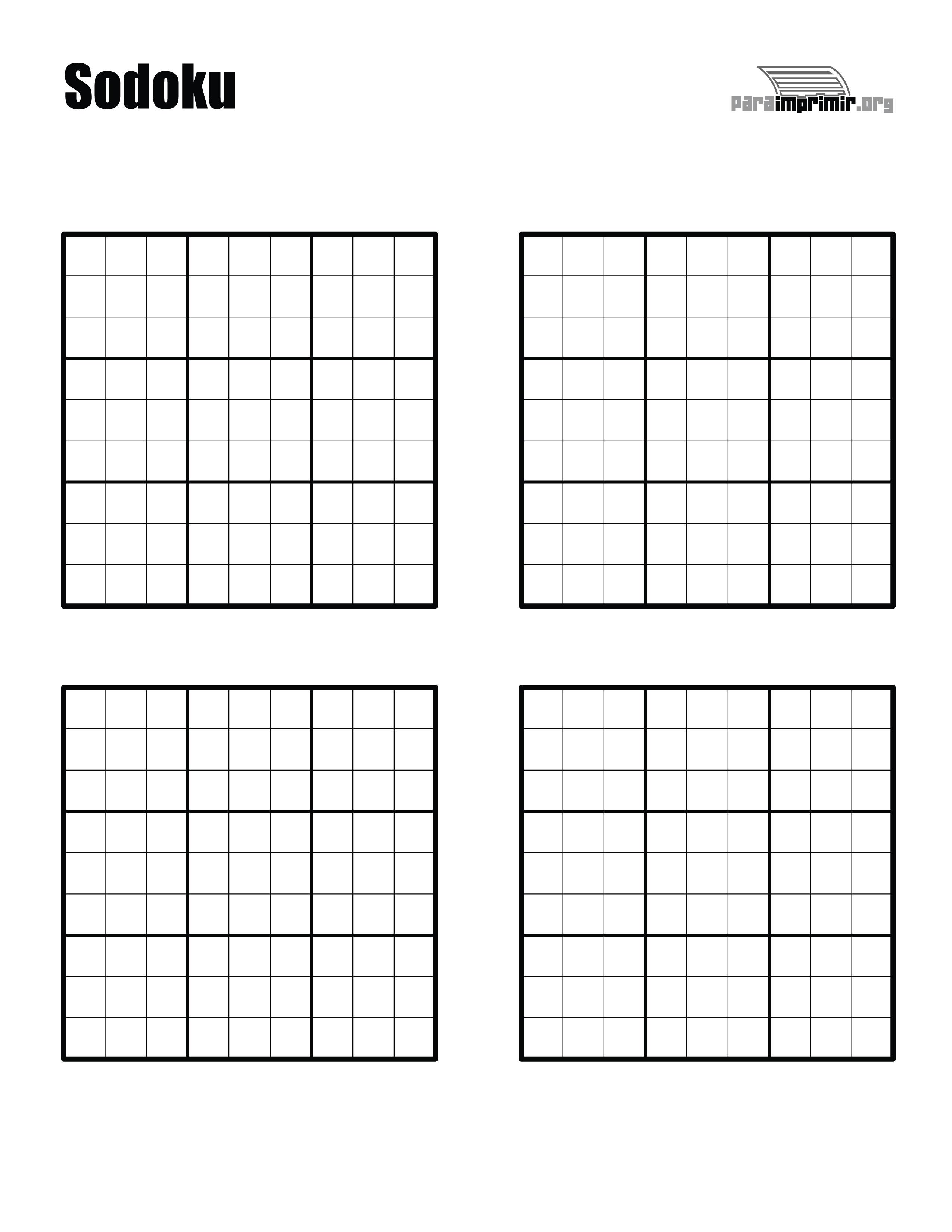 Sudoku en blanco para imprimir