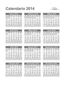 Calendario 2014 para imprimir