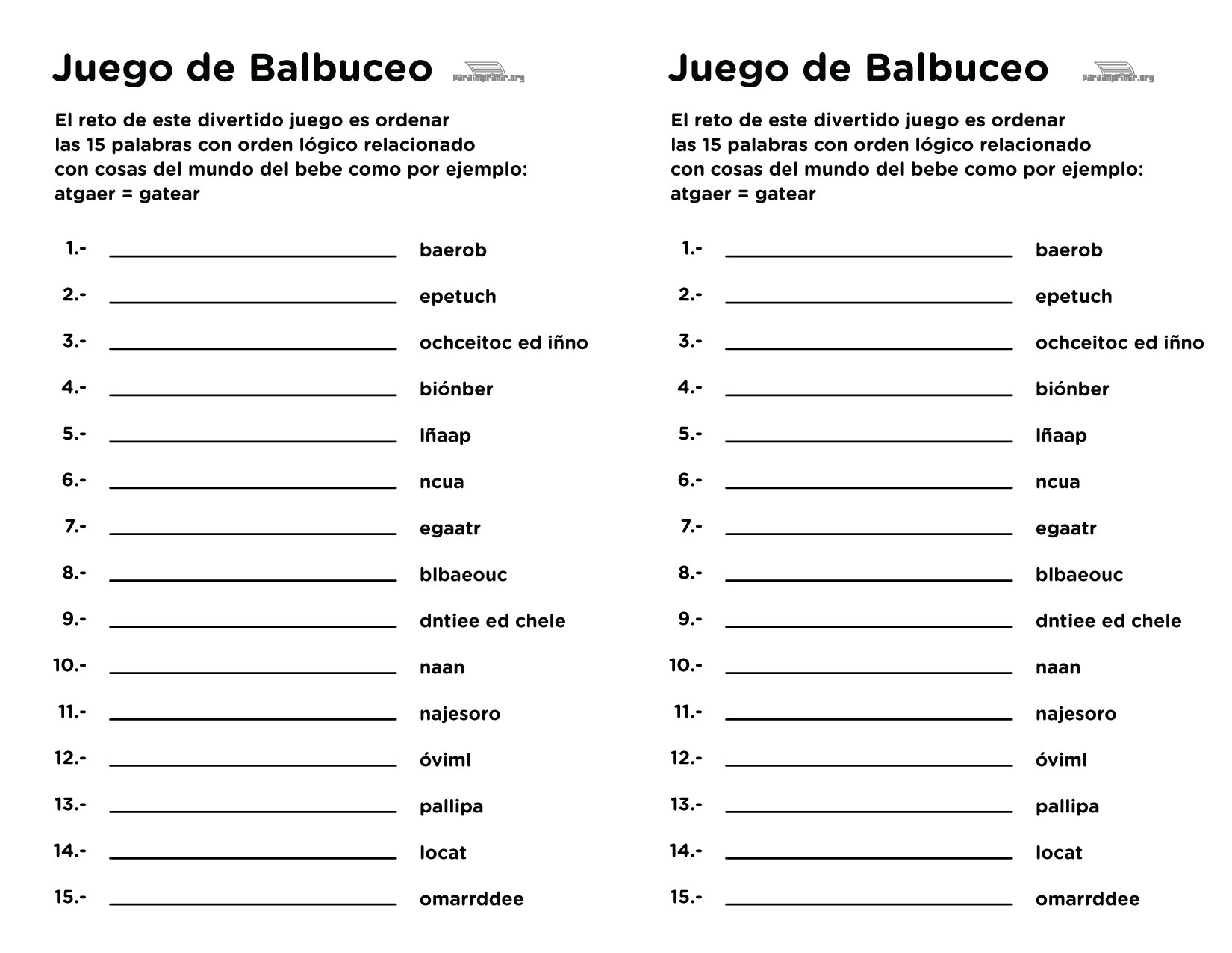 Juego De Baby Shower De Balbuceo Para Imprimir