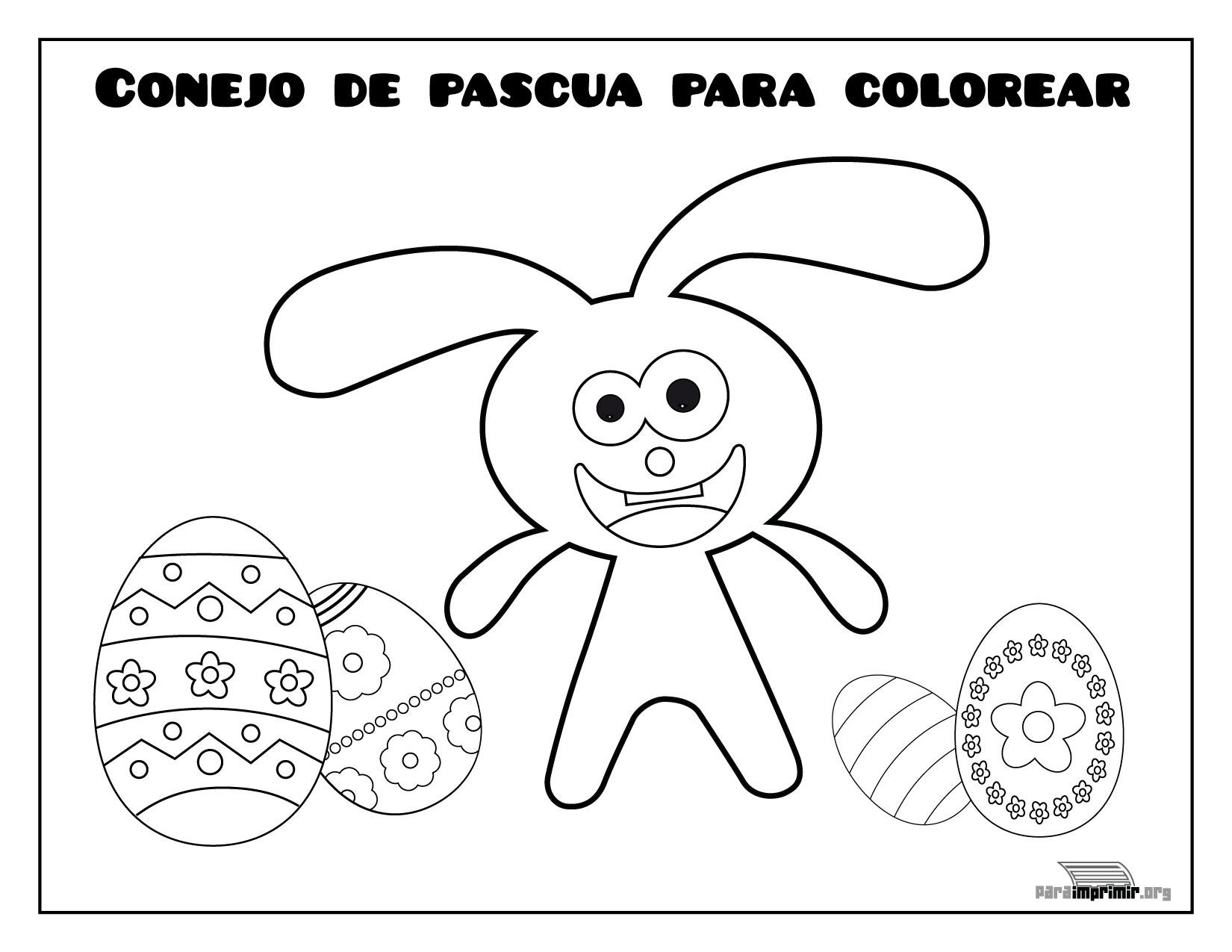 Conejo De Pascua Para Colorear Y Para Imprimir