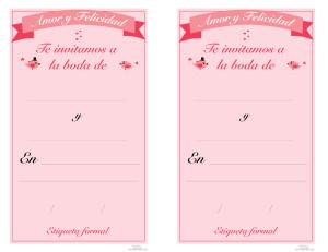 Tarjeta para imprimir boda