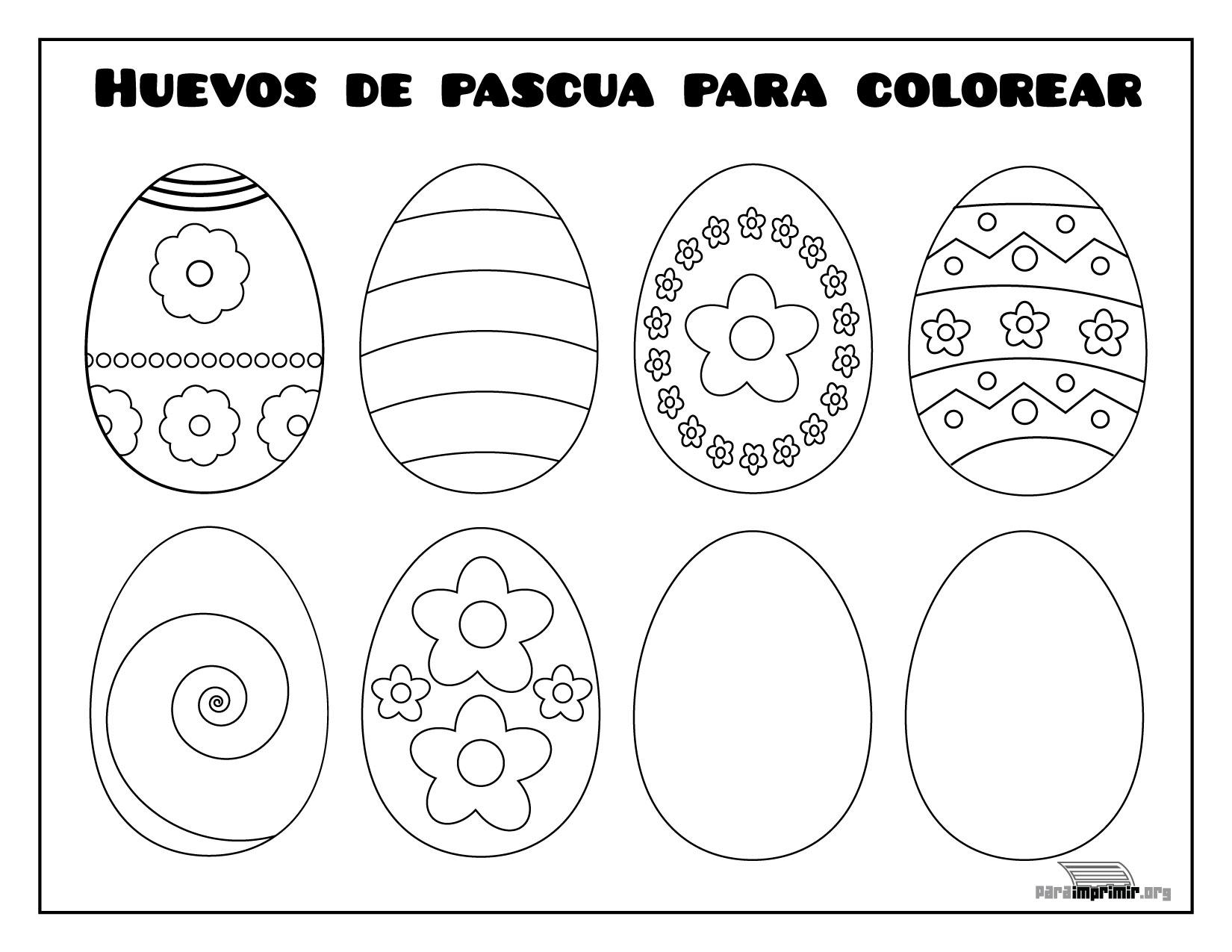 Huevos de pascua para colorear y para imprimir