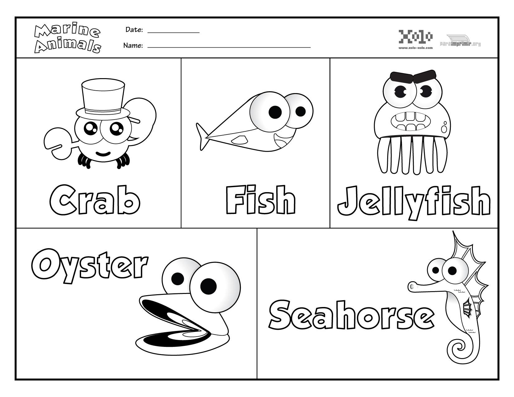 estos Animales marinos en ingles para colorear y para imprimir en PDF