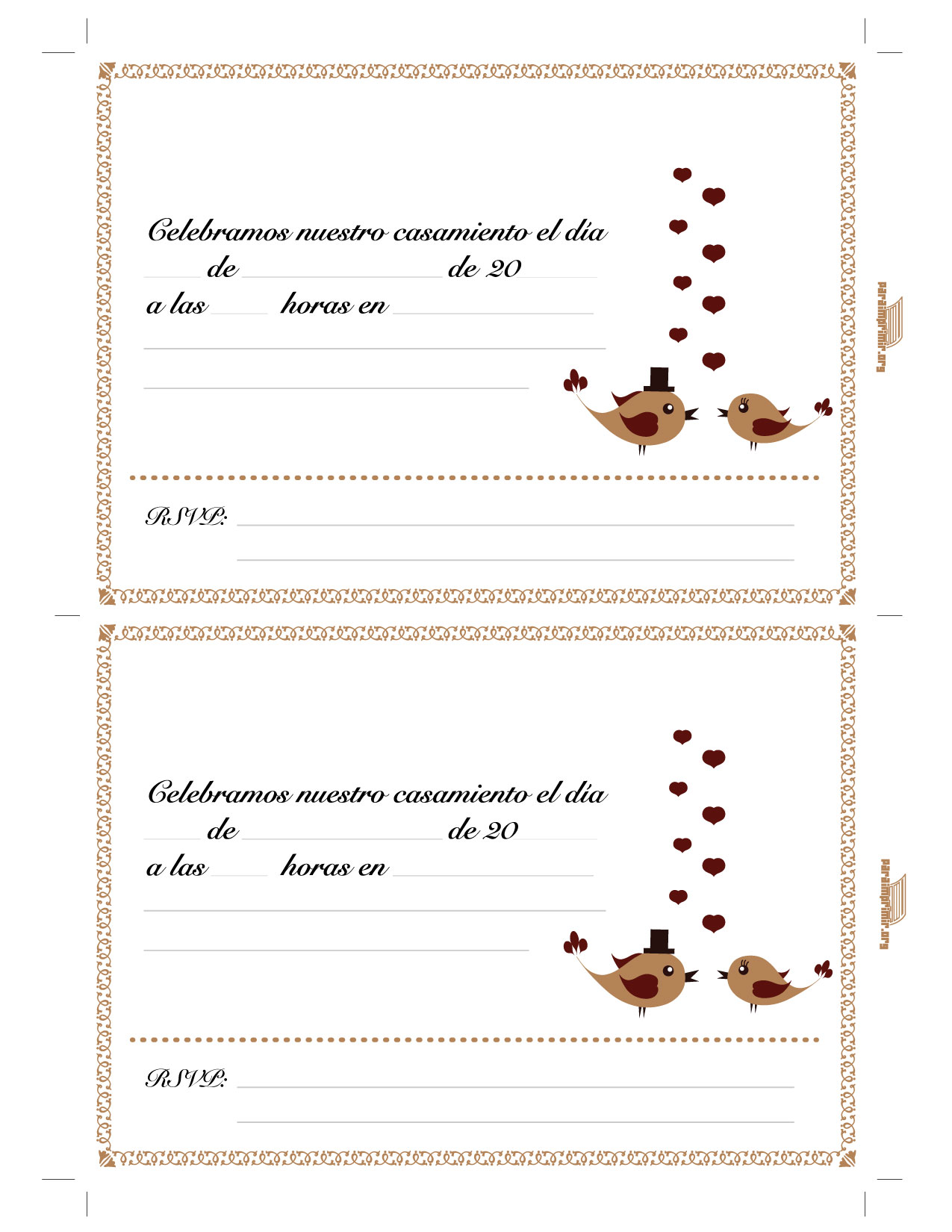 Tarjeta De Casamiento Para Imprimir