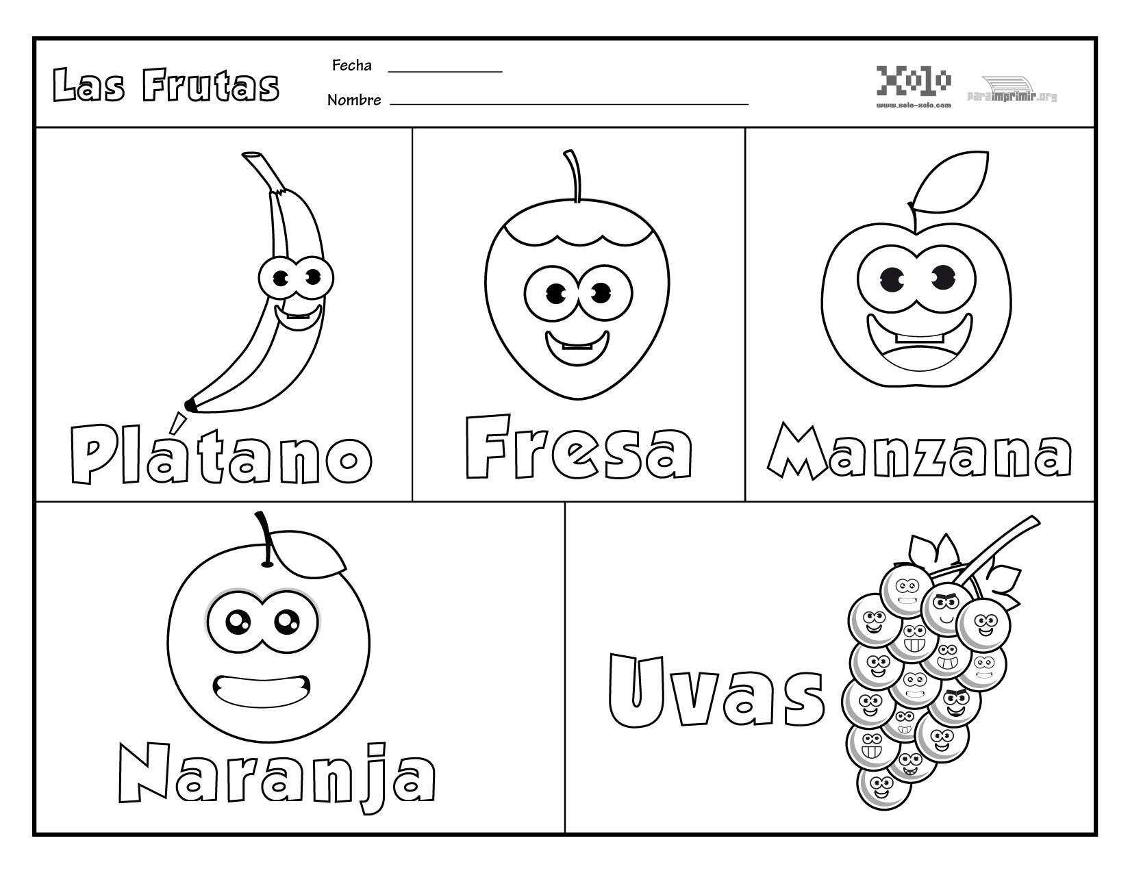 Frutas En Español Para Colorear Y Para Imprimir