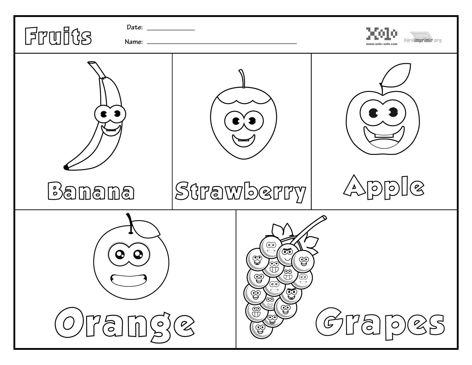 Frutas En Ingles Para Colorear Y Para Imprimir