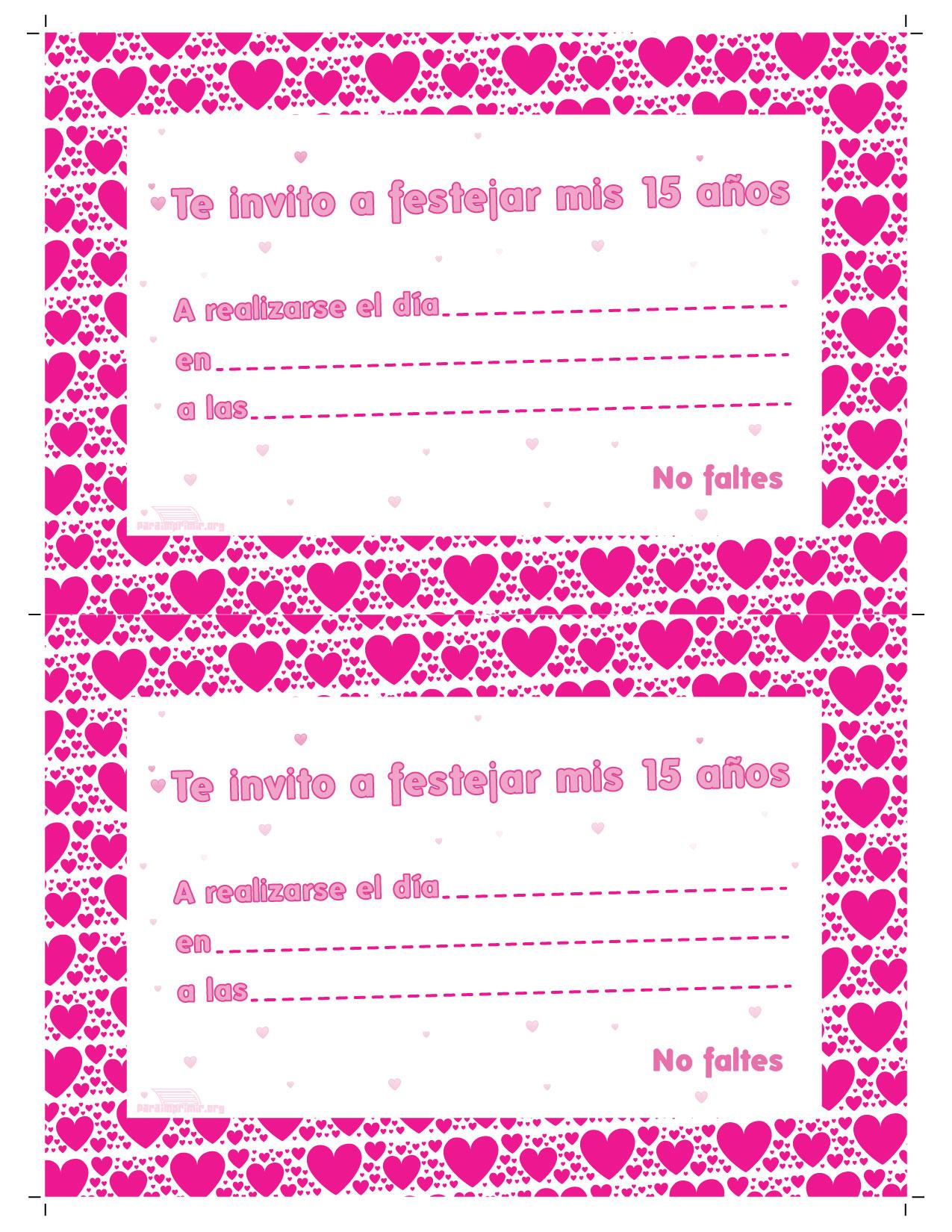 Tarjetas Para Imprimir De 15 Anos
