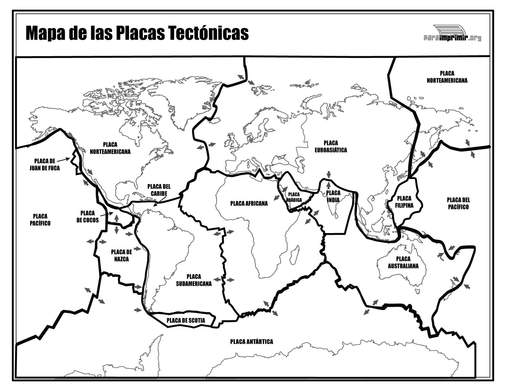 Mapa De Las Placas Tectónicas Para Imprimir