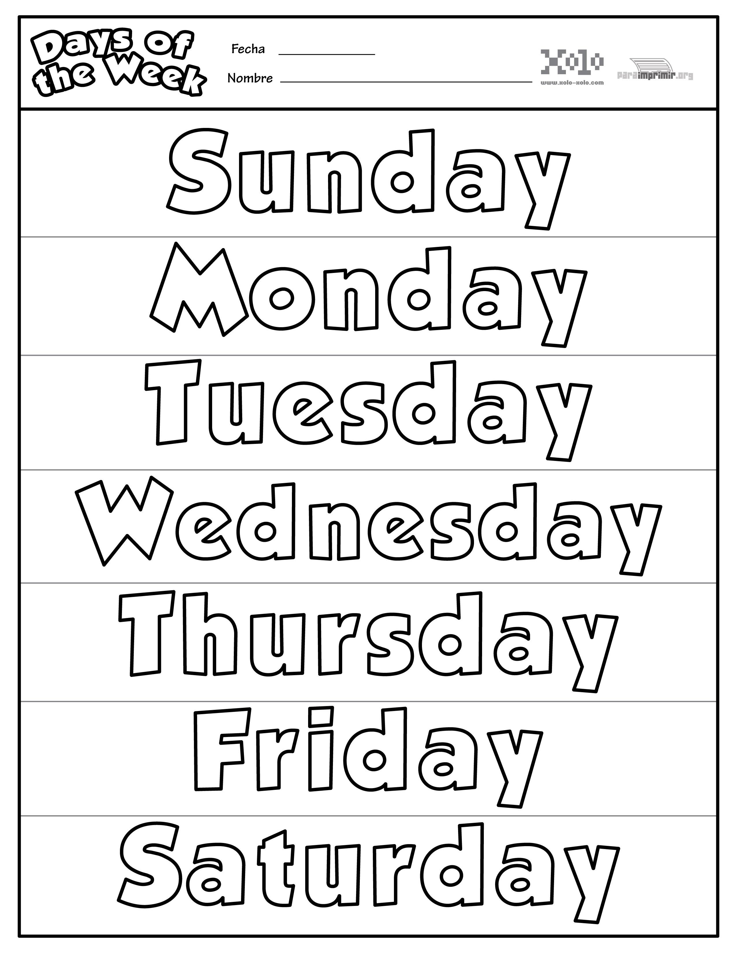 Días De La Semana En Ingles Para Colorear Y Para Imprimir
