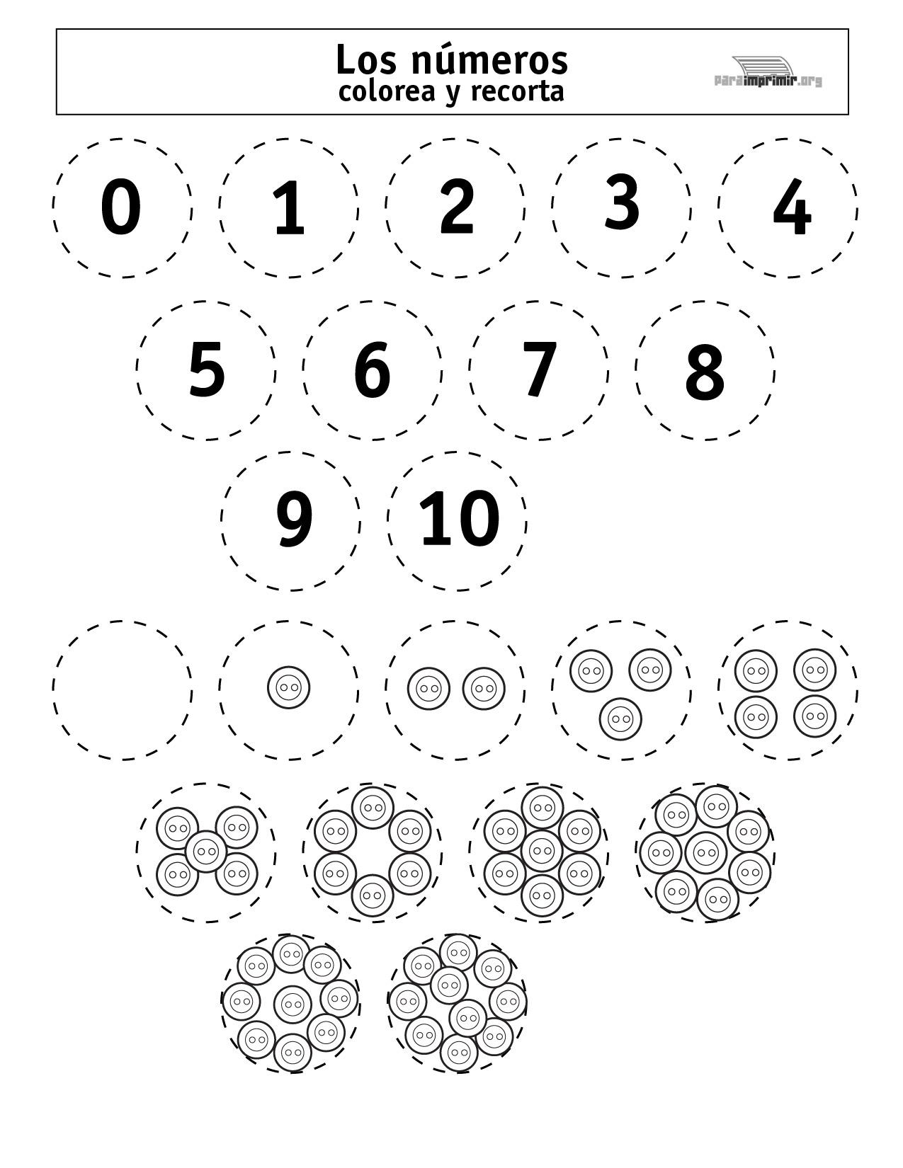 Números del 0-10 para colorear, recortar y para imprimir