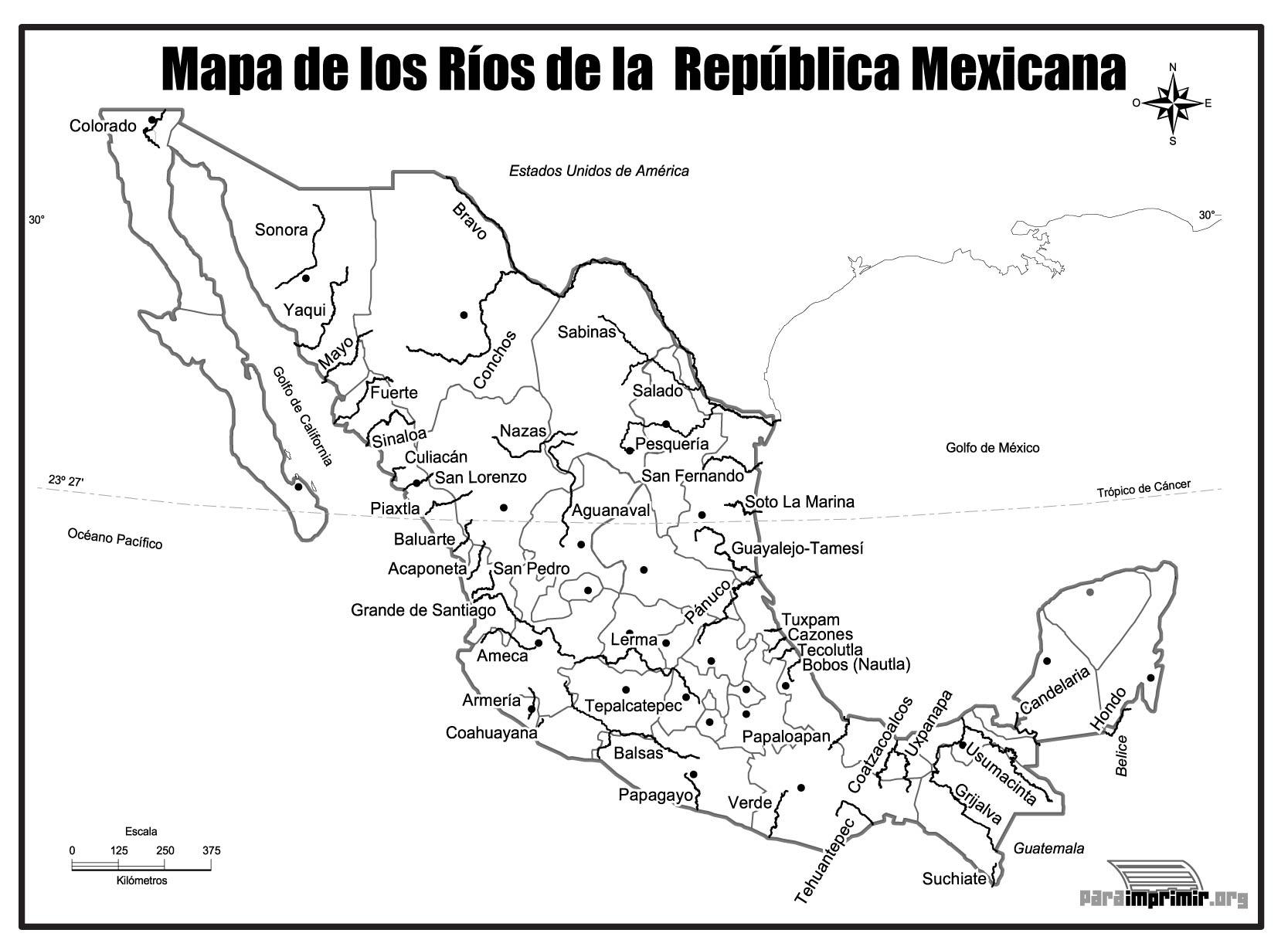 Mapa de los ros de Mxico para imprimir