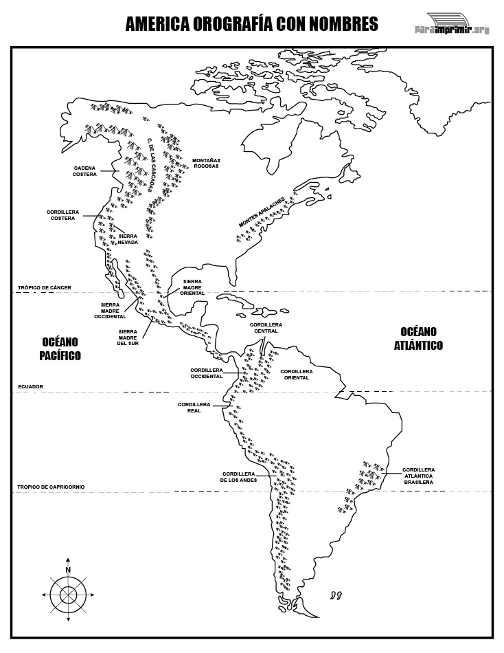 Mapa de la orografía de América con nombres para imprimir
