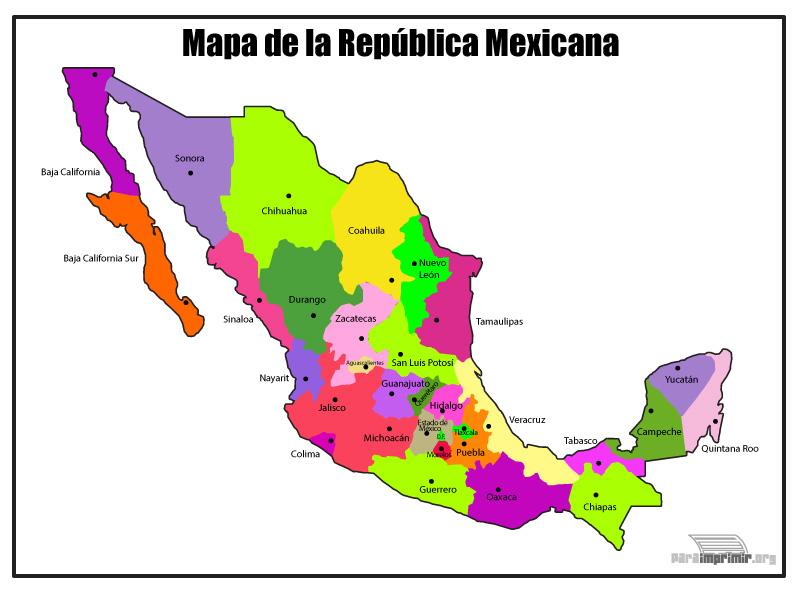 Mapa de la Republica Mexicana a color para imprimir