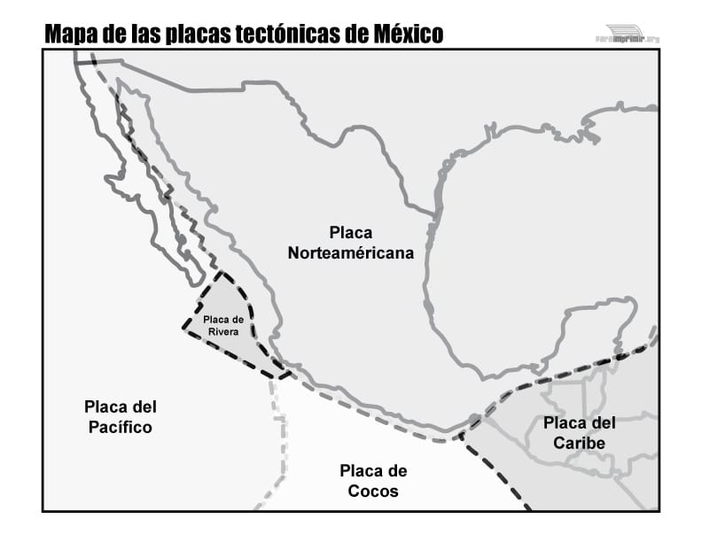 Mapa De Las Placas Tectónicas De México Para Imprimir